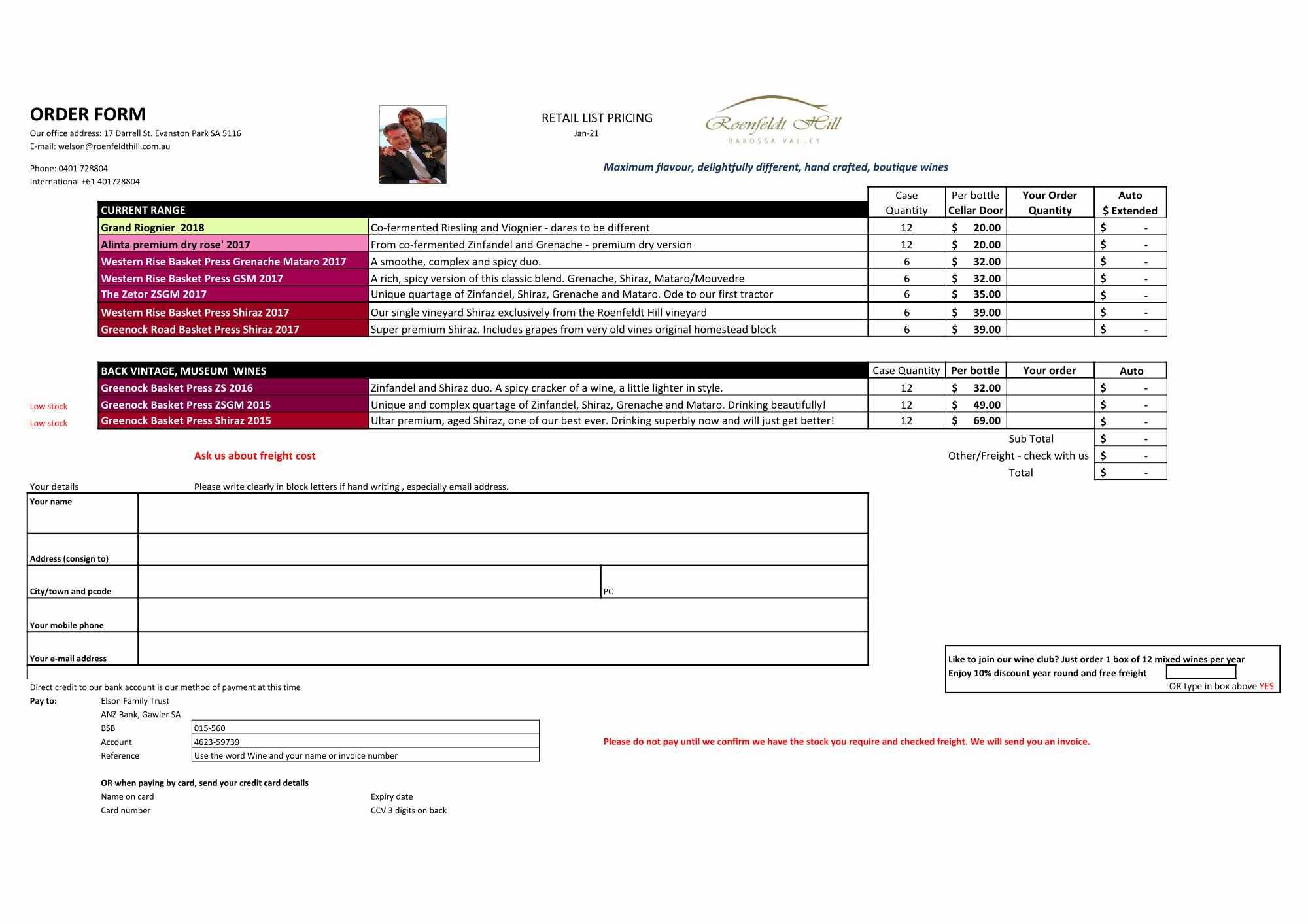 Order form and price list Cellar Door revised Jan 2021