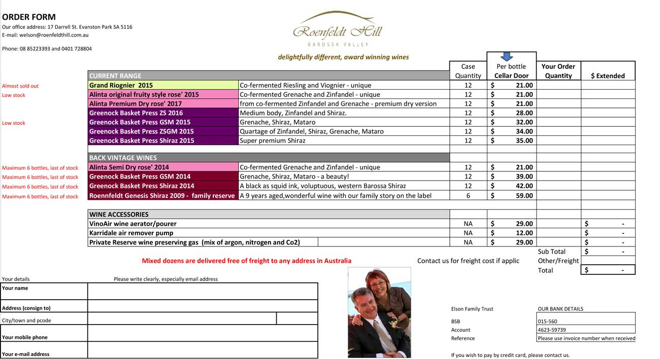 Roenfeldt Hill Wines - Order Form